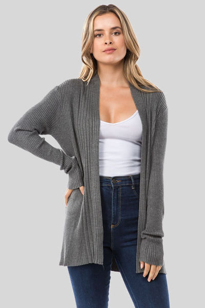 Charming You Boutique | Women's Cardigan | Solid Long Sleeve Viscose