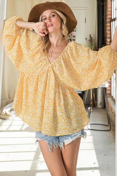 Charming You Boutique | Women's Top V-Neck Long Sleeve Floral Babydoll