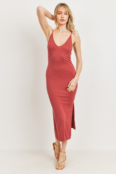 Charming You Boutique | Women's Sleeveless Bodycon Knit Dress, brick