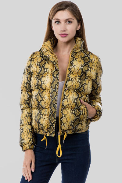 Charming You Boutique | Women's Jacket | Snake Skin Zipper Crop Jacket