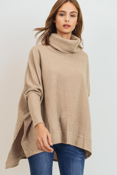 Charming You Boutique | Women's Top | Long Sleeve Cowl Turtle Neck