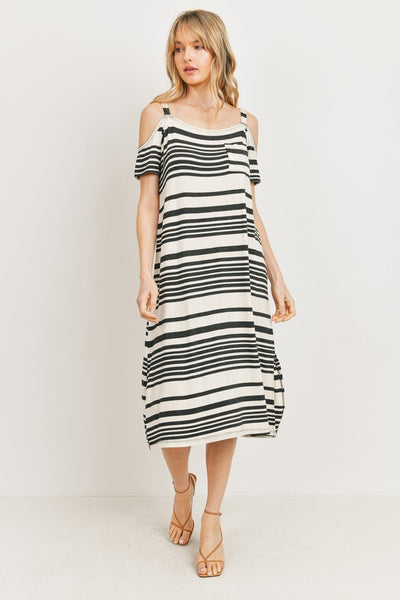 Charming You Boutique | Women's Stripe Cold Shoulder Midi Dress, charcoal