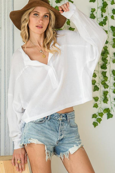 Charming You Boutique | Women's Top | Long Sleeve Cropped Henley Top