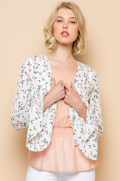 Charming You Boutique | Women's Outerwear | Long Sleeve Floral Blazer