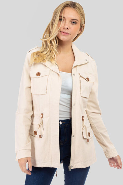Charming You Boutique | Womens Jacket | Zip-Up | Pocket Anorak Jacket