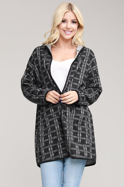 Charming You Boutique | Women's Cardigan | Check Print Hooded Cardigan