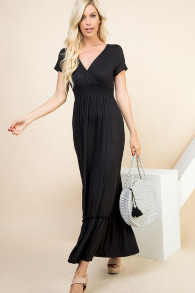 Charming You Boutique | Women's Dress | Short Sleeves Wrap Maxi Dress