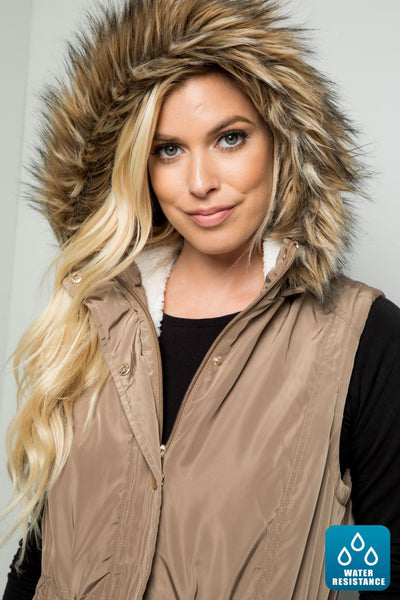 Charming you Boutique | Women's Vest | Sherpa Waterproof Anorak Hooded
