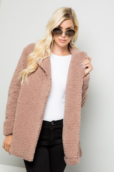 Charming you Boutique | Women's Coat | Long Sleeve Sherpa with Pocket