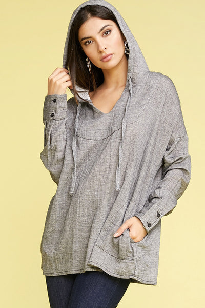 Charming You Boutique | Women Top | Winter Long Sleeve Hooded Pullover