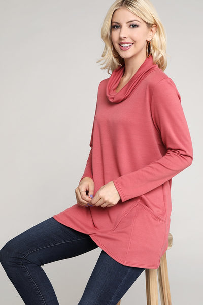 Charming You Boutique | Women's Top | Long Sleeve Cowl Neck Tunic