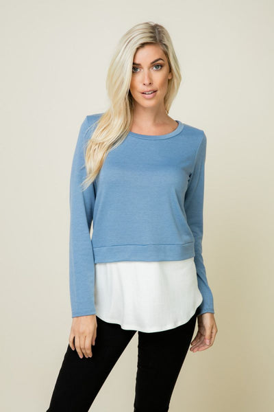 Charming You Boutique | Women's Top | Long Sleeve Color Block Layered