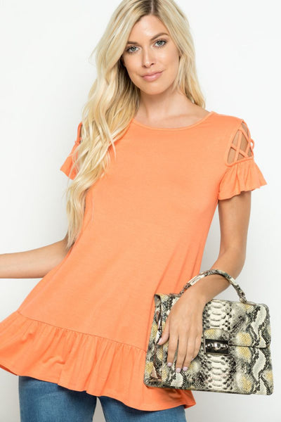 Charming You Boutique | Women's Top | Solid Ruffled Short Sleeve Top