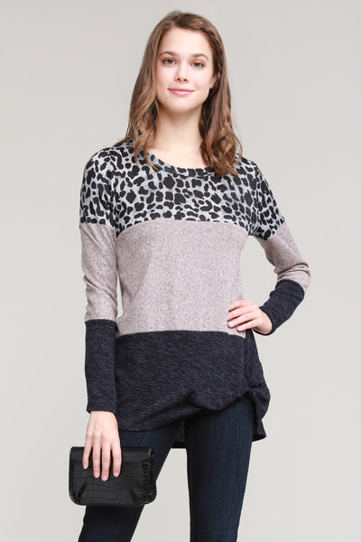 Charming You Boutique | Women's Top | Long Sleeve Animal Color Block