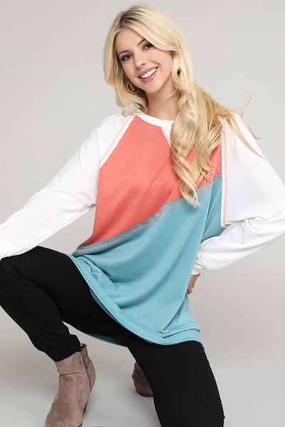 Charming You Boutique | Women's Top | Color Block Sweatshirt Tunic Top