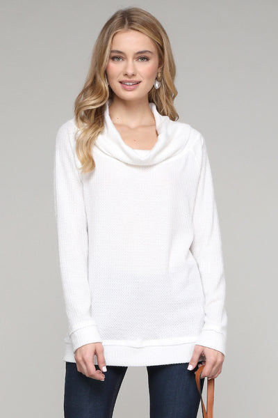 Charming You Boutique | Women's Top | Solid Long Sleeve Cowl Neck Top