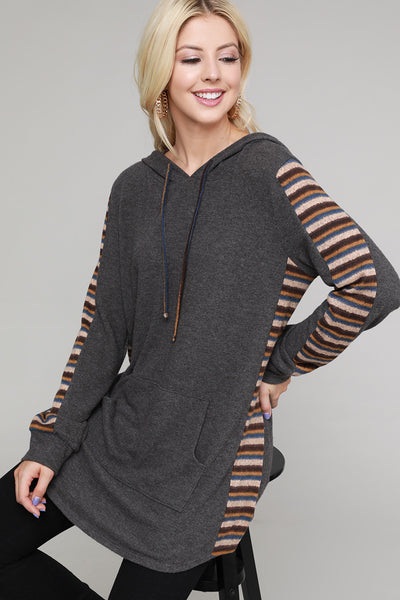Charming You Boutique | Women's Top | Long Sleeve Striped Hooded Tunic