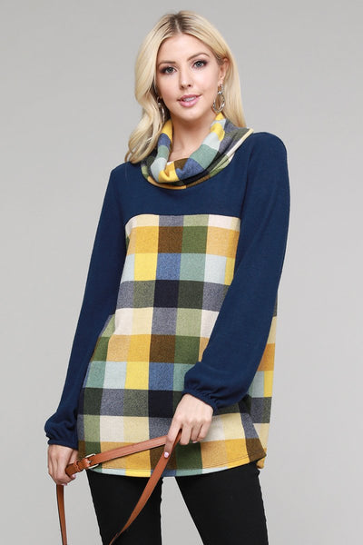 Charming You Boutique | Women's Top | Plaid Cowl Neck Long Sleeve Top