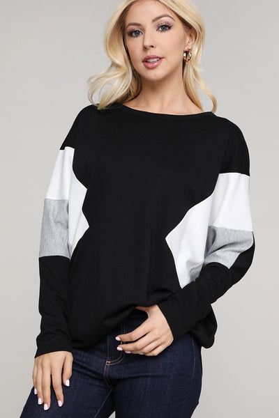 Charming You Boutique | Women's Top Dolman Color Block Pullover Top