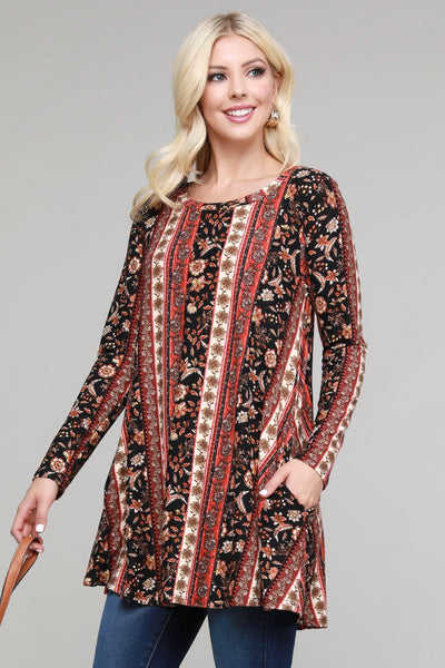 Charming You Boutique | Women's Tunic | Trendy Long Sleeve Print Tunic