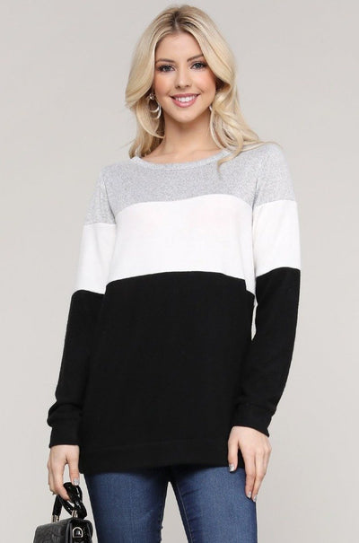 Charming You Boutique | Women's Top | Long Sleeve Color Block Top