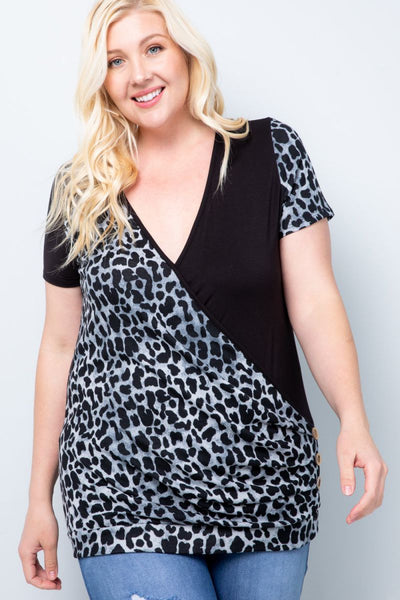 Charming You Boutique | Women's Top | Plus Size Short Sleeve Wrap Top