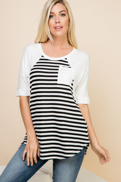 Charming You Boutique | Women's Top | Half Sleeve Stripe Top Pocket