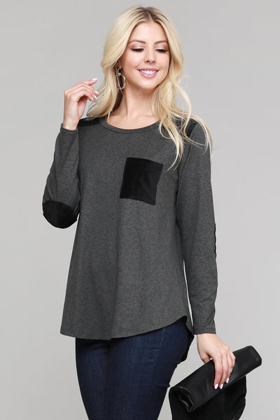 Charming You Boutique | Womens Top | Long Sleeve with Contrast Pocket