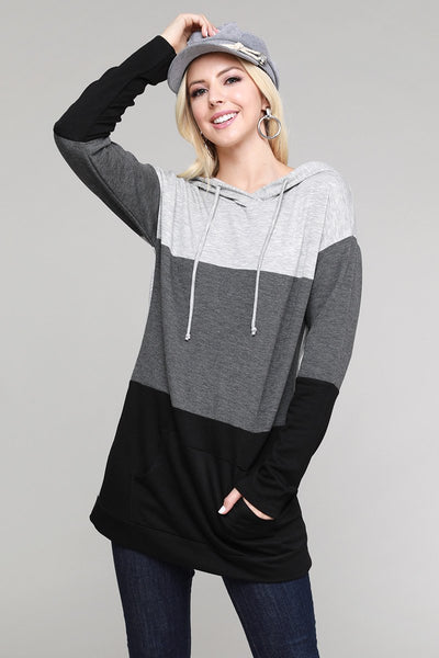 Charming You Boutique | Women's Top | Long Sleeve Color Block Hoodie