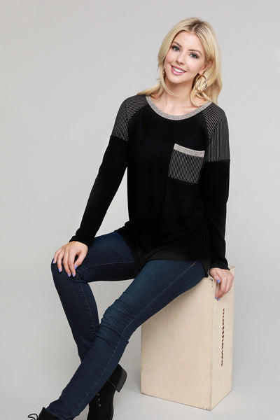 Charming You Boutique | Women's Top | Long Sleeves Top Front Pocket