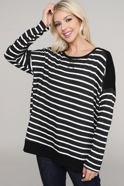 Charming You Boutique | Women's Top | Stripe Print Long Sleeve Top