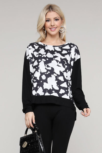 Charming You Boutique | Women's Top | Long Sleeve Cow Print Pullover