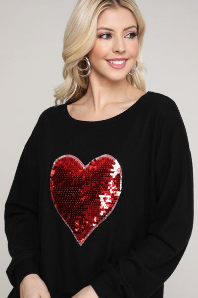 Charming You Boutique | Women's Top | Valentine Long Sleeve Heart Detail