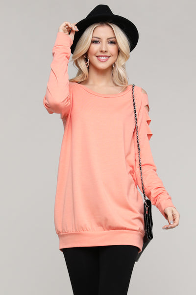 Charming You Boutique | Women's Top | Long Sleeve Die Cut Pullover