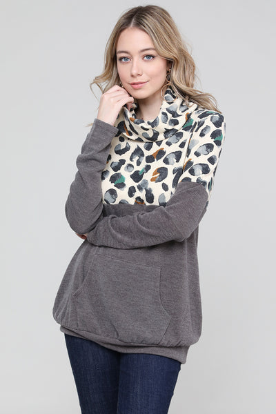 Charming You Boutique Women's Top | Trendy Animal Print Cowl Neck Top