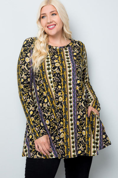 Plus Size Mutual Feelings Long Sleeve Print Tunic - Charming You Boutique | Online Women's Clothing