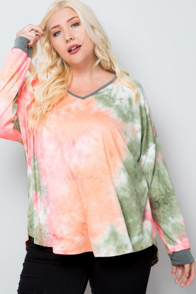 Charming You Boutique | Women's Top | Plus Size Tie Dye V-Neck