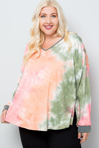 Plus Size Mellow Morning Tie Dye V-Neck Top - Charming You Boutique | Online Women's Clothing