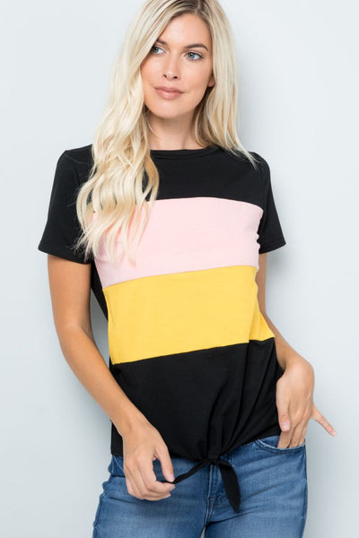 Charming You Boutique | Women's Top | Short Sleeve Color block Tie Top