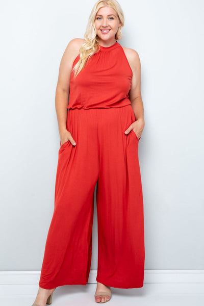 Charming You Boutique | Women's Jumpsuit | Plus Size Solid Sleeveless