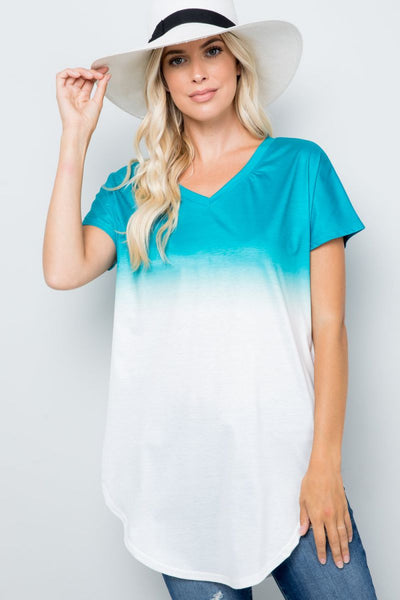 Charming You Boutique | Womens Top | V-Neck Tie Dye Short Sleeve Tunic