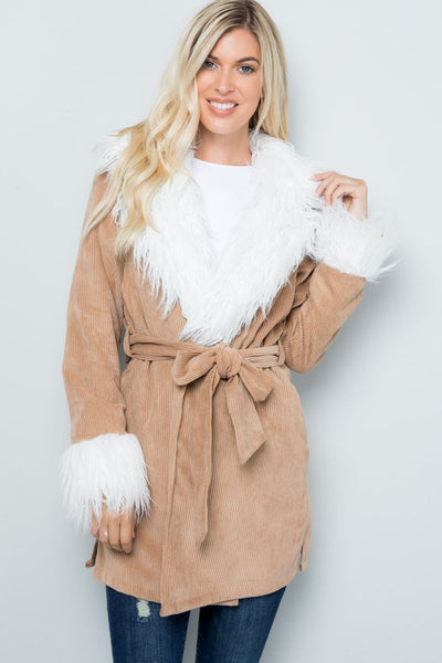 Charming You Boutique | Women's Coat Winter Long Sleeve Fur Corduroy