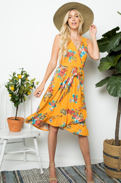 Charming You Boutique | Women's Dress | Floral Sleeveless Wrap Dress