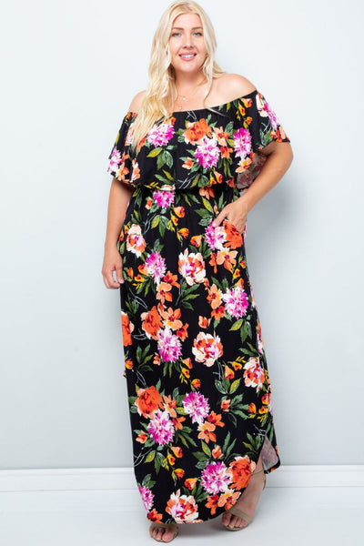 Charming You Boutique | Women's Dress | Plus Size Floral Off Shoulder