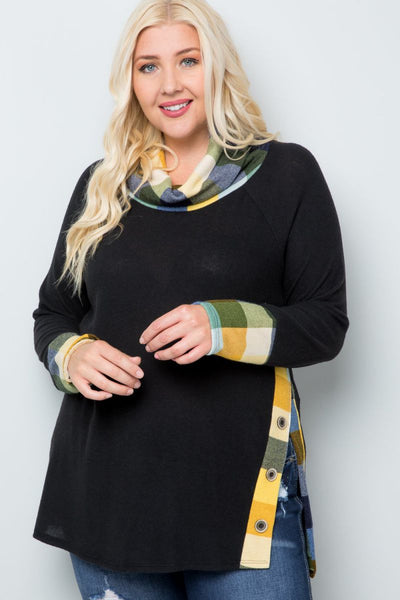 Charming You Boutique | Women's Top | Plus Size Long Sleeve Cowl Neck