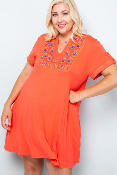 Charming You Boutique | Women's Dress | Plus Size Embroidery Dress