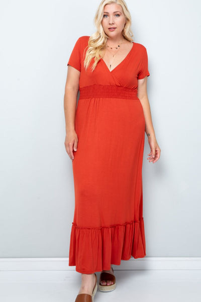 Charming You Boutique | Women's Dress |Plus Size Solid Wrap Maxi Dress