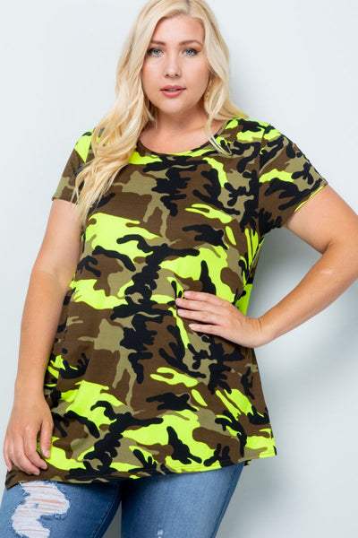 Charming You Boutique | Womens Top | Plus Size Short Sleeve Camo Print