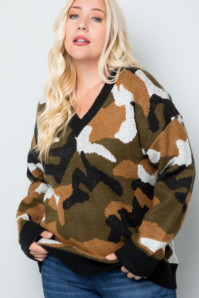 Charming You Boutique | Women's Top | Plus Size Long Sleeve Camo Print