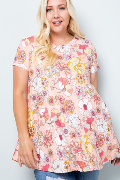 Charming You Boutique | Women's Tunic | Plus Size Short Sleeve Floral
